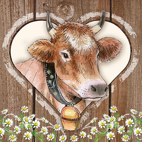 26 Serviette Kuh im Herz