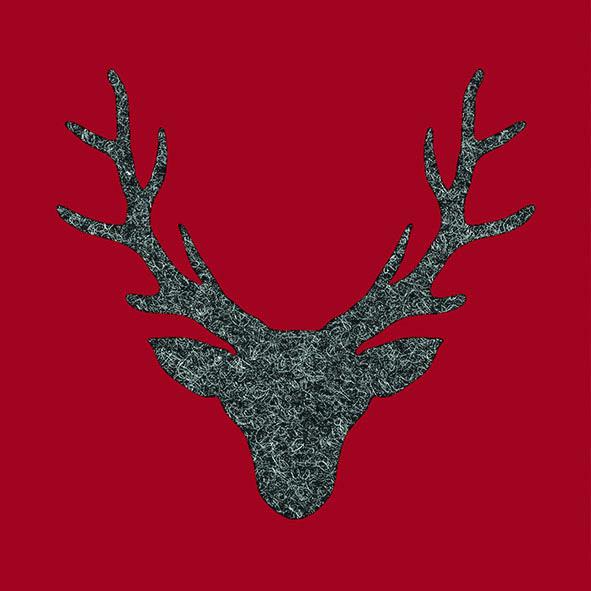 10 Servierte Hirschkopf rot