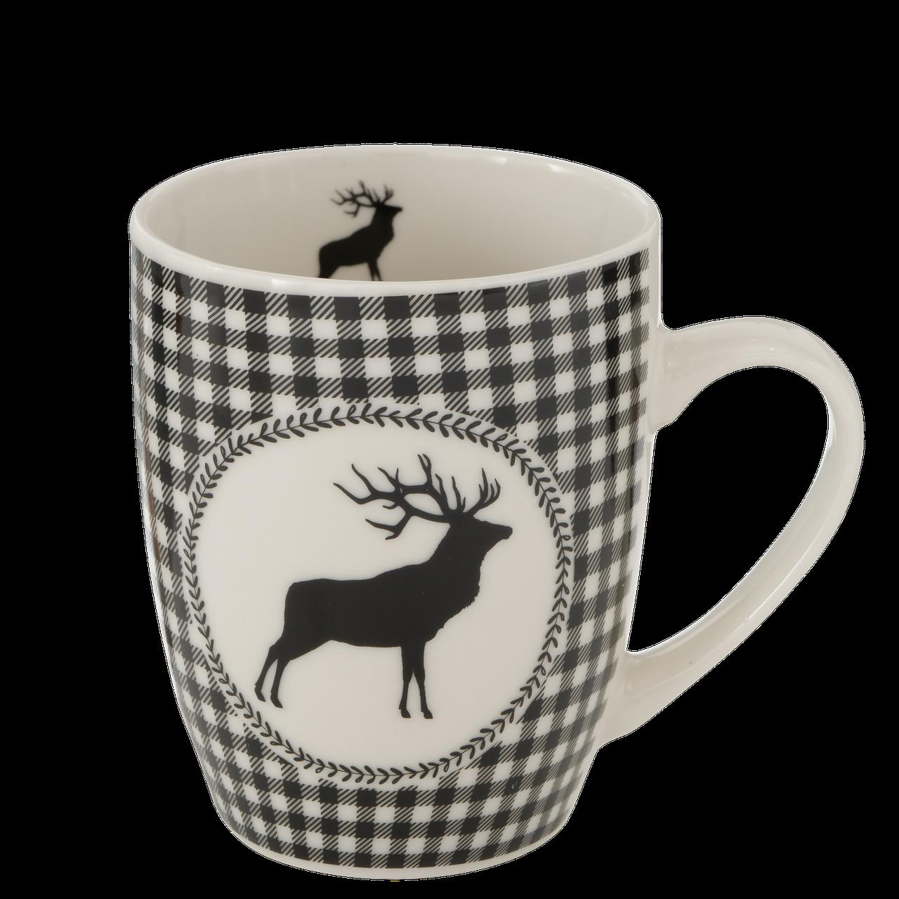 Hirsch Tasse schwarz/weiß
