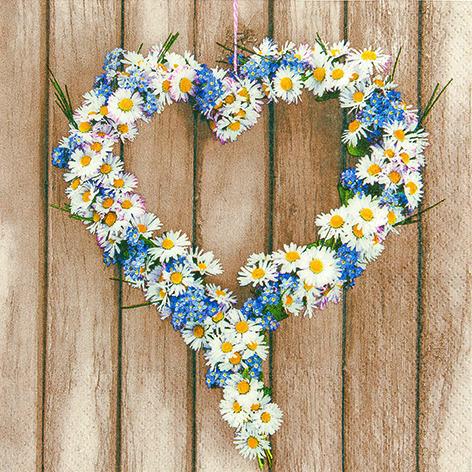 34 Serviette Daisy Heart