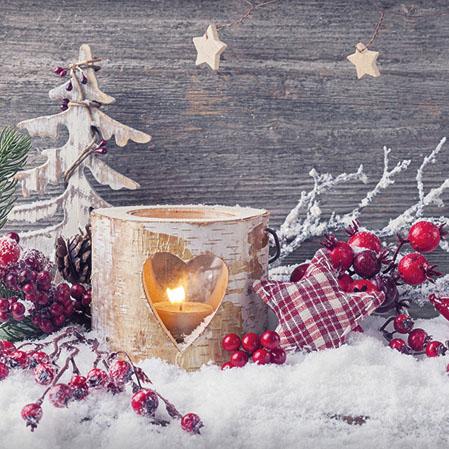 84 Serviette Weihnachtskerze