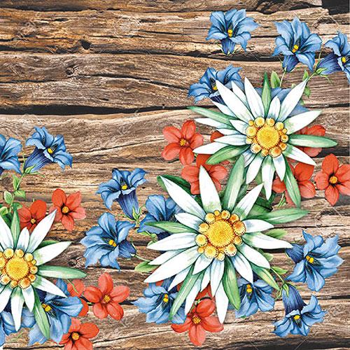 23 Serviette Alpenblumen