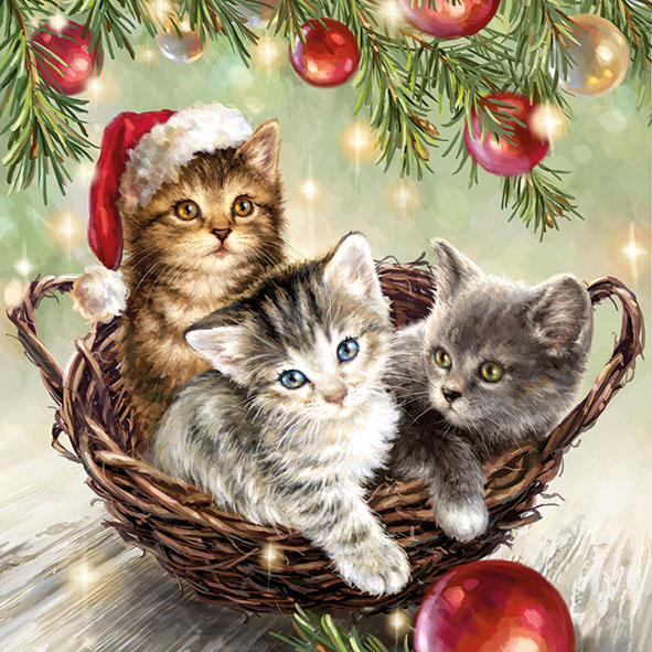16 Serviette Cats in Basket